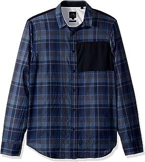 A|X Armani Exchange 男式格子長袖翻邊紐扣襯衫