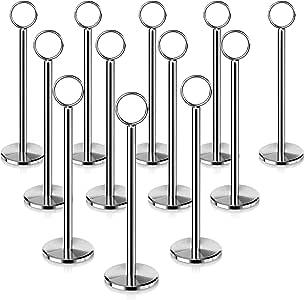全新星形 12 件桌子编号支架桌子编号立式卡片架 30.48 厘米 银色 8-Inch, 12 piece 23336