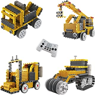 Ingenious Machines Construction Crew Robot Vehicle Building Kit TG667 - Remote Control Blocks Motorized Vehicle Kids Robotic Kits - Toys For Boys & Girls By ThinkGizmos (Trademark Protected).