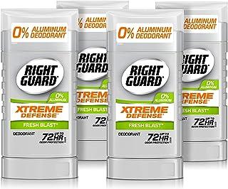 Right Guard Xtreme Defense 铝无臭隐形固体棒,清新爆,3 盎司,4 支装