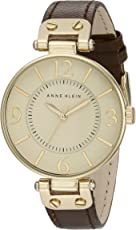 Anne Klein ADX51 金色基调棕色皮质表带女士手表
