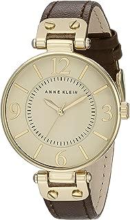 ANNE KLEIN 女士 109168IVBN 金色调不锈钢手表配棕色皮革表带,Beige,均码