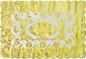 """家具桌保护台透明塑料桌布矩形可擦拭保护餐桌顶盖软玻璃水晶咖啡桌保护台垫乙烯基亚克力桌布卷 pvc 桌垫 餐垫 Placemats 8 Sets 12"""" x 18"""" Gold Floral A PVC15X"""