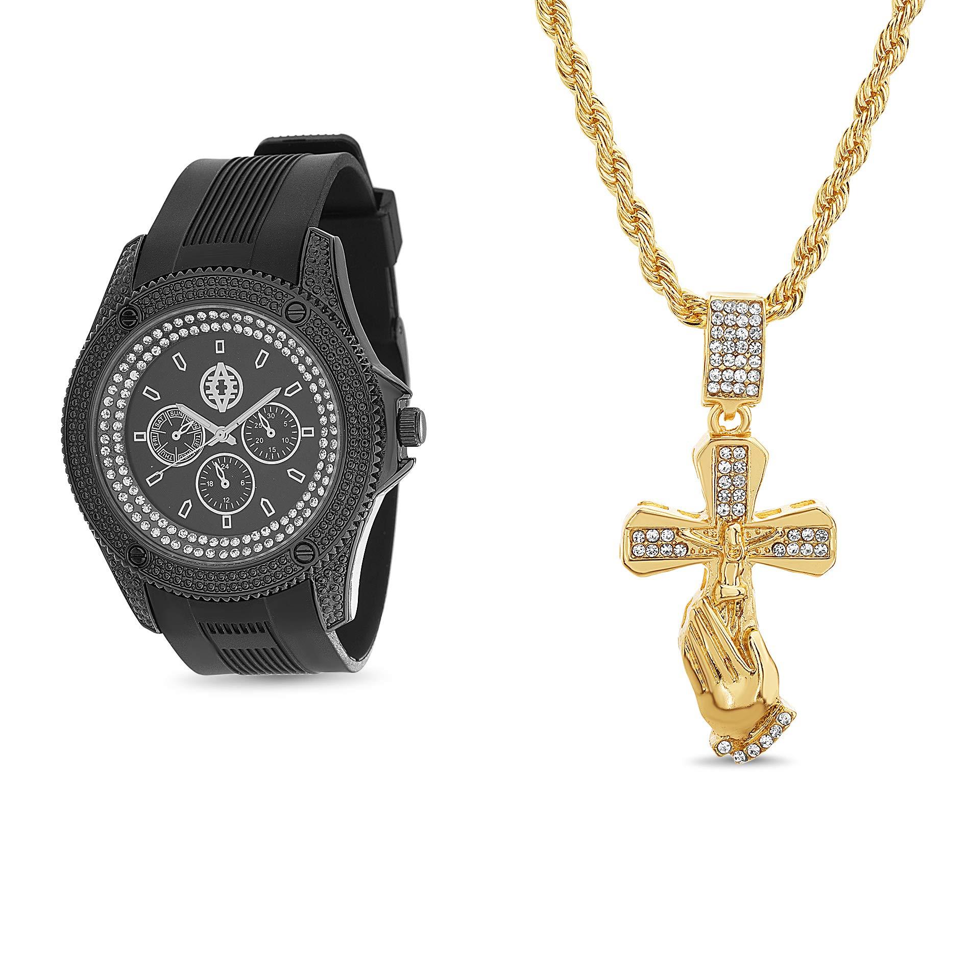Akademiks 橡胶表带水钻祈祷手镯项链男式手表套装