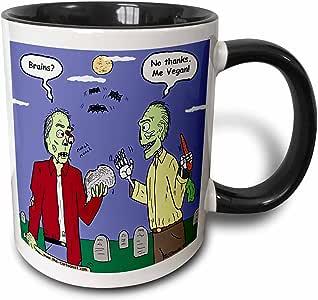 mug_3810 Rich Diesslins Funny General Cartoons - Halloween - Zombie Vegans - Mugs 11-oz Two-Tone Black Mug