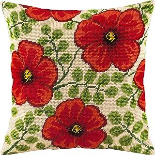 红花。 针点套件。 抱枕 40.64 x 40.64 厘米。 印花挂毯帆布,欧洲品质