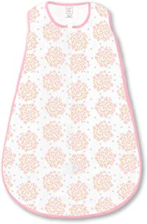 swaddledesigns 棉质睡袋带双向拉链,粉色 Heavenly 花卉微光 Pink Heavenly Floral Shimmer Medium 6-12 Months
