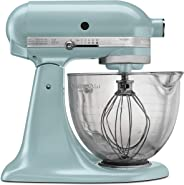 KitchenAid KSM155GBAZ 5-Qt. Artisan Design Series with Glass Bowl - Azure Blue 需配变压器
