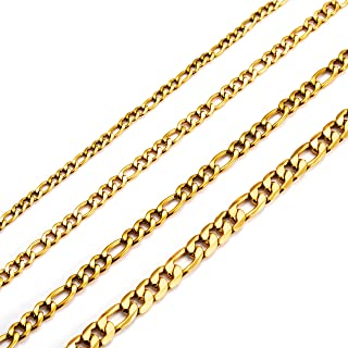 18K 真金 镀金 40.64 厘米至 71.22 厘米费加罗链项链宽 3 毫米 4 毫米 5 毫米 6 毫米 简约不锈钢费加罗链子 男女青年 女孩 男孩 *好的朋友姐妹 时尚珠宝