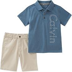 Calvin Klein 男孩 2 件 装 POLO 衫及短裤套装