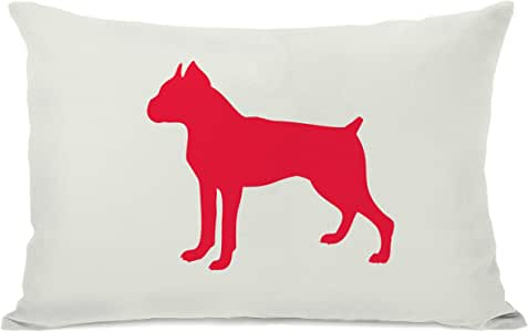 OBC Bentin 家居装饰拳击手轮廓抱枕 Boxer Silhouette - Ivory Lipstick Red 14x20 Pillow 11207PL42