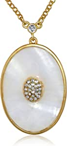 "T Tahari ""Essentials"" Oval Pave White Pendant Necklace, 18"""