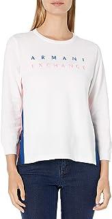 A|X Armani Exchange 女式七分袖侧开叉针织标志毛衣