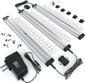[新] EShine 3 面板 LED 可调光橱柜照明套件! 手动波浪激活 - 免接触调光控制 - 明亮、牢固、稳定 - 易于安装 - 豪华套件 冷白色 (6000K) EL3003DC