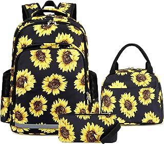 青少年女孩背包书包儿童书包套装学校背包带午餐盒和铅笔盒 028 Sunflower Black