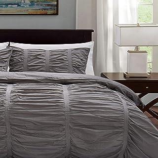 加州设计 丹 羽绒被套 褶边棉 四季 轻质奢华床上用品 完美适合羽绒替代被 特大号 ,深灰色,3 件