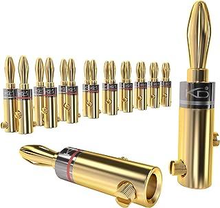 KabelDirekt 香蕉插頭 - 11-16 AWG,連接器(10 對),24K 鍍金,可螺絲,適用于將電纜靈活連接到高光纖盒、放大器、AV 接收器和聲音系統