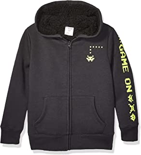 亚马逊品牌 - 斑点斑马童夏尔巴内衬羊毛拉链连帽衫