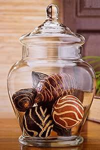 优雅透明玻璃相伴罐带盖子 - 高玻璃罐 - 家居装饰和聚会 透明 11 Inch 2993