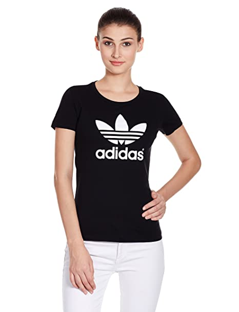 adidas Originals 三叶草女式短袖上衣TREFOIL TEE M30394 黑170 ...