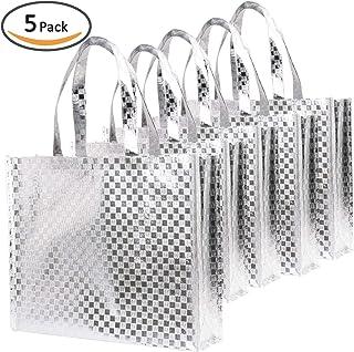Rumcent 闪亮光泽耐用可重复使用中型无纺礼品袋 5 件套购物袋,促销包 shiny silver square pattern Liang Mian 5pcs