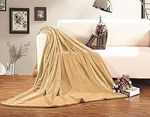 Elegant Comfort 超柔软毛毯 * 低*性,加州大号双人床,桃红色 金黄色 Twin/Twin XL 01RW-Fleece-Twin-Gold