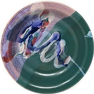Larrabee Ceramics 8.5 英寸浅面食碗 Mauve/Green
