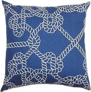 "The Pillow Collection Accalia Coastal 欧式枕套*蓝 蓝色 Queen/20"" x 30"" QUEEN-21015-NAVY-C100"