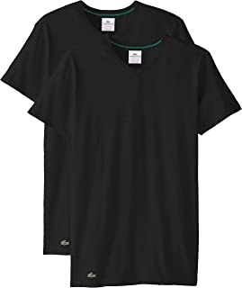 Lacoste 鳄鱼 男式 2 件装 彩色弹力棉 V 领 t 恤  黑色 Medium