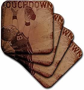 3dRose cst_179059_3 Touchdown Football-Ceramic Tile Coasters, Set of 4