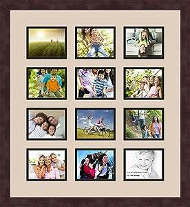 Art to Frames 双多衬垫-234-782/89-FRBW26061 拼贴框架照片垫双衬垫带 12 个 - 4x5 开口和Espresso 框架