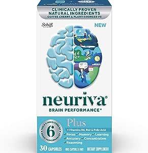 NEURIVA Plus 大脑营养补充剂,一瓶30粒,加入上B6,B12和叶酸,支持6项大脑表现指标