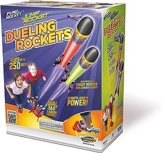Geospace Jump 火箭决斗火箭套装,带 2 个旋转发射管,2 个气泵,发射垫和 6 个初级火箭