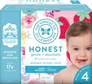 The Honest Company Club Box - 4 号 - 玫瑰花和草莓印花与 TrueAbsorb 技术植物 60 Count (Pack of 1)
