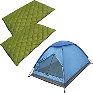 Alpinizmo High Peak USA 2 Florida 0 睡袋/1 Monodome 3 帐篷组合套装,绿色/蓝色,均码