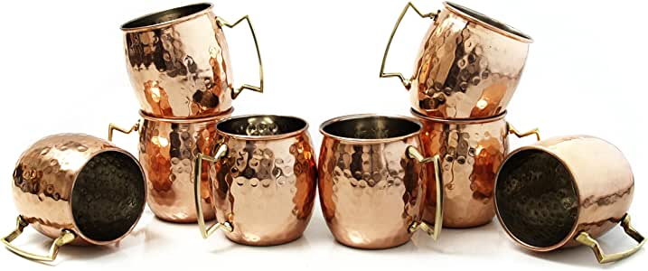 Moscow Mule Hammered 铜 453.59 毫升饮水杯 棕色和白色 18 Ounce 581839-700301