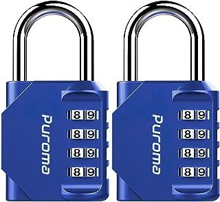 Puroma 2 个组合锁 4 个数字挂锁,适合学校健身房储物柜、运动储物柜、围栏、工具箱、盒、搭扣