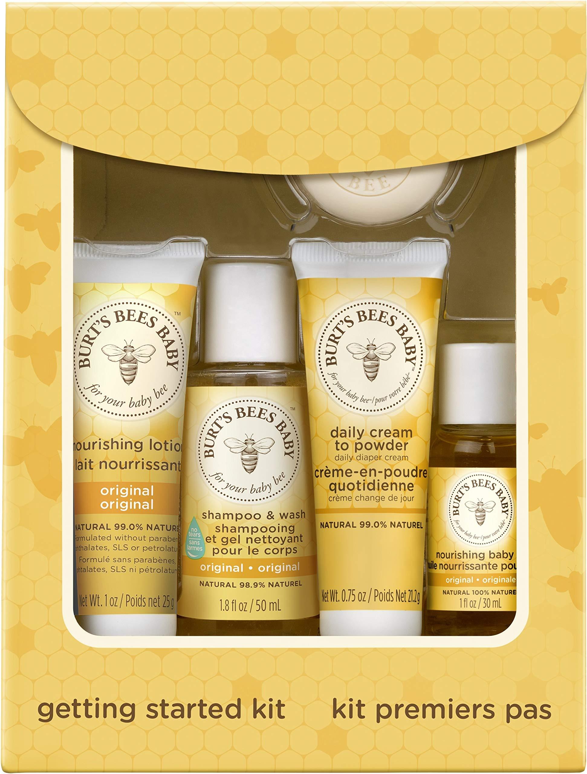 Burt's Bees Burt's Bees Baby Getting Started礼盒套装,5个试用装婴儿护肤品 - 乳液,洗发沐浴露,日霜,婴儿油和肥皂