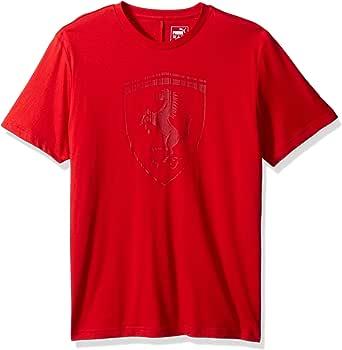 PUMA 男士 Ferrari Big Shield T 恤 Rosso Corsa Large