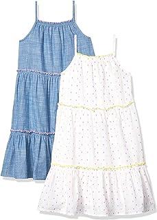 亚马逊品牌:斑点斑马女孩连衣裙2件装编织无袖阶梯连衣裙