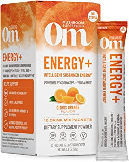 Om - 能量粉末饮料与Cordyceps & Reishi柑橘橙色 - 10 前小包NRG Matrix自然能&支持