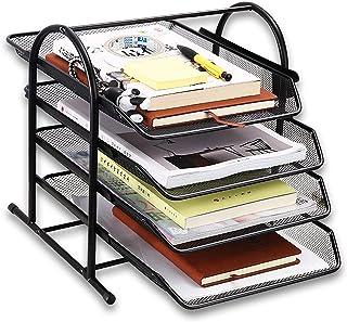 MDHAND 桌面收纳袋,带 4 个滑动托盘,网状办公文件收纳袋,适用于文件、邮件、纸张、信件、文件夹和分类器