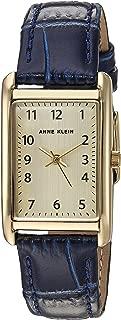 Anne Klein 女式易读金色和*蓝鳄鱼纹皮革表带手表,AK/3540CHNV