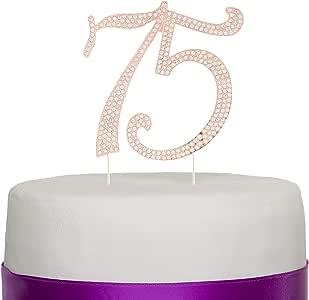 数字 75 蛋糕装饰,适合 75 岁生日或周年纪念 - 银色水钻金属派对装饰 玫瑰金
