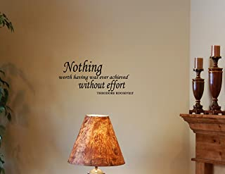 """""""NOTHING WORTH HAVING WAS EVER ACHIEVED WITHOUT EFFORT 乙烯基墙面字母st."""" 黑色"""