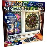 Joy of Coloring Zorbitz,彩色玻璃窗艺术吸附套件 DIY,8 份吸附和 5 色漆工艺套件