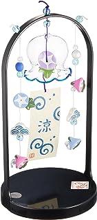 风铃 桌面风铃(牵牛花造型吊饰)[玻璃 陶器] [玻璃宽 5厘米 手提架 高22厘米x宽11.5厘米] 纳凉 室内装饰 可爱 凉爽 夏日