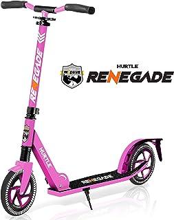 轻便可折叠滑板车 - 可调节滑板车适合青少年和成人,合金板带高冲击轮(粉色)