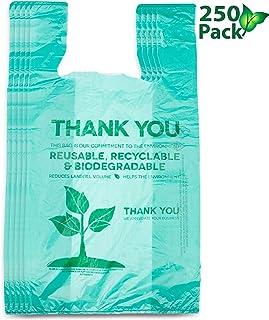 可回收、可堆肥可重复使用生物降解袋购物袋*环保塑料袋250包
