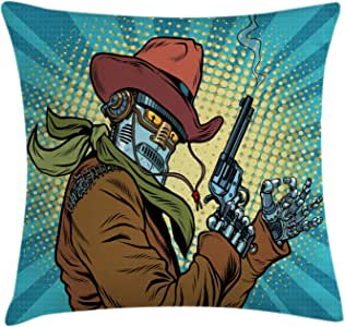 Blue Decor Throw Pillow Cushion Cover by Ambesonne, Steampunk Western Style Robot Cowboy Makes OK Gesture Illustration, Decorative Square Accent Pillow Case, 20 X 20 Inches, Petrol Blue and Brown
